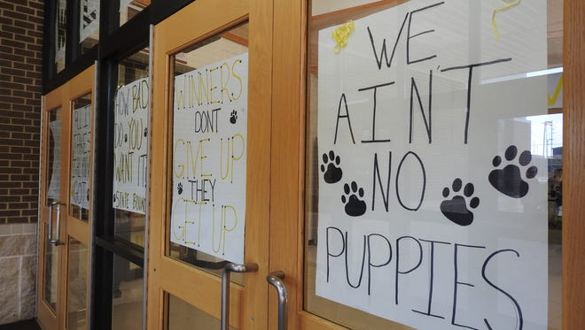 Posters decorate the walls and doors of Tri-Valley High School in anticipation of the state championship football game on Saturday.