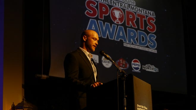 Former NFL player Chase Reynolds speaks at the 2018 Northcentral Montana Sports Awards.