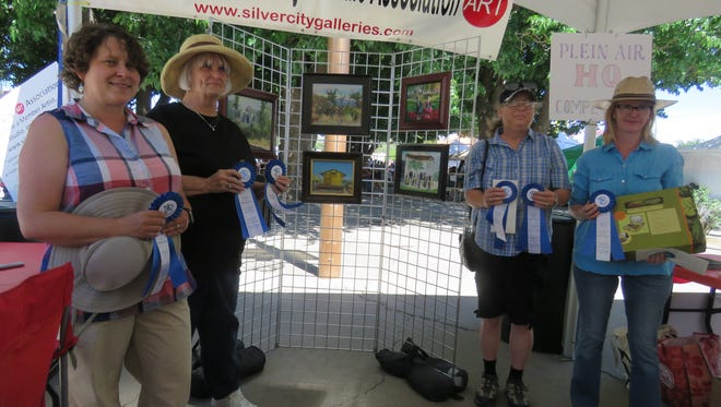 """Shown are """"Silver City Paint Out"""" winners Melinda McIntosh, Louise Sackett, Jodi Murphy and Meredith Milstead"""