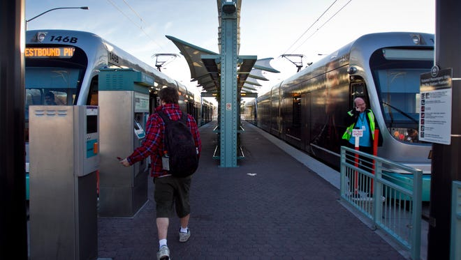Reality: Light rail maintains these goal hours. On Fridays and Saturdays, the last full trip leaves at 2 a.m. Most Phoenix stations are about half a mile apart. Stations are more than a mile apart in a few cases, including on Washington Street.