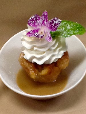 Among the desserts is Tommy's award-winning bread pudding with praline sauce.