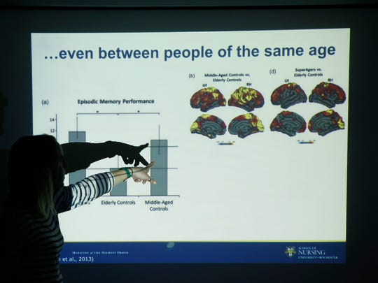 Alanna Jacobs gives a talk at OASIS about healthy cognitive aging.