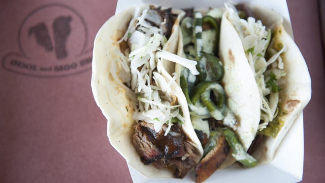The Trifecta tacos (one skirt steak, one chipotle chicken, and one pulled pork) at Oink & Moo BBQ in Voorhees.