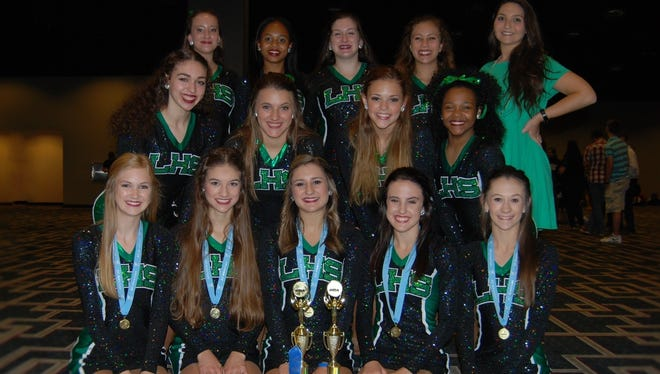 The Lafayette High dance team took home several honors at the recent UDA convention in New Orleans. Pictured on bottom row are Mattie Brown; Brynne Tynes, lieutenant; Madeline Begnaud, captain; Marti Albarado, co-captain and Bailey Dore, lieutenant. Pictured on middle row are Madeline Miller, MacKenzie Landry, Allison Provost and Courtney Celestine. Pictured in back row are Emily Hebert, Jacee Guilbeaux, Emily Setka, Tori Pellerin and Coach Caitlin Carona. Not pictured are Madeleine Krauss, Kirsi Michael, Phylicia Williams and Jillian Venable.