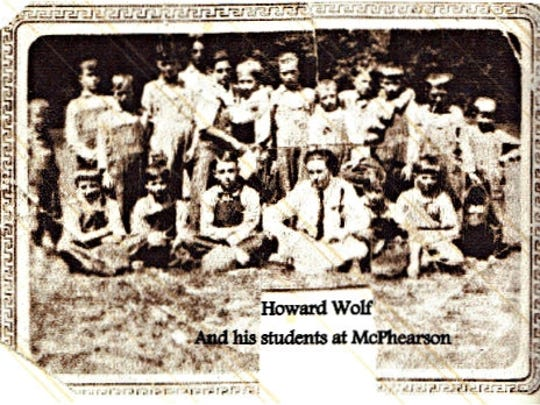 Howard Wolf and the boys in his class at McPhearson School in the 1920s.