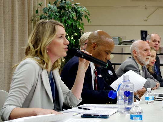 Audrey Denney, a Democrat challenging incumbent Doug LaMalfa in California's District 1 congressional race, speaks at a previous candidates forum in Redding.
