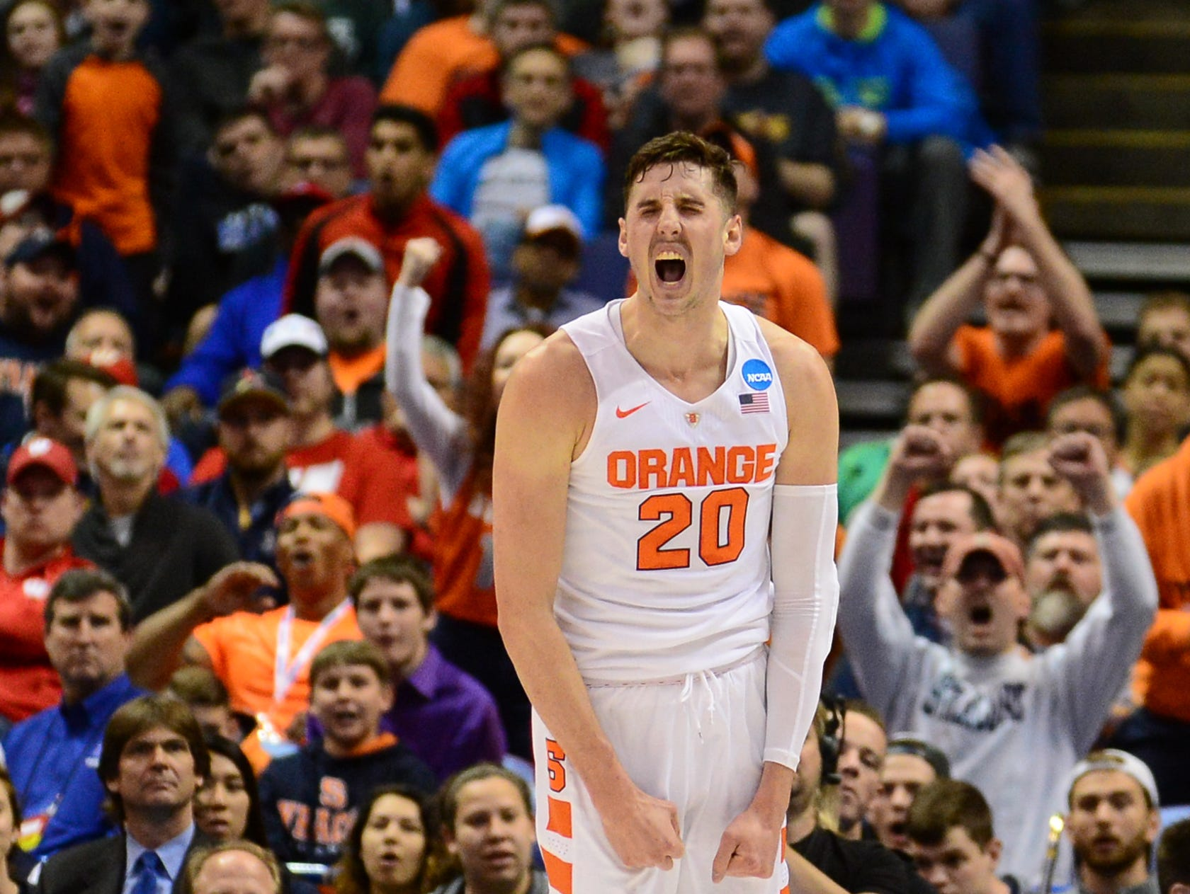 Syracuse's Tyler Lydon reacts to a dunk against Middle Tennessee at Scottrade Center in St. Louis, Missouri Sunday.