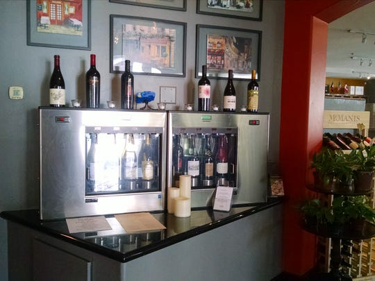 Wines that are served by the glass are stored in a