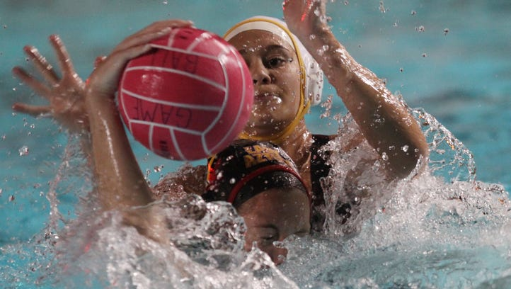 Palm Desert High School's Elise Stein, in front, is found by  La Quinta High School's Brooke Smith during their game at La Quinta on February 10, 2016. La Quinta won the game.