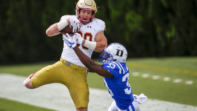 Boston College tight end Hunter Long (80) catches a touchdown pass against Duke Blue cornerback Leonard Johnson (33) during the second half of an NCAA college football game, Saturday, Sept. 19, 2020, in Durham, N.C.