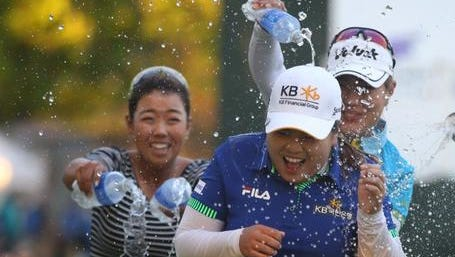 Inbee Park celebrates her win at the 2014 LPGA Championship in Rochester.