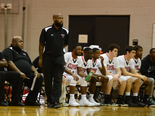 Bennett's head coach Andre Collins watches his team during the matchup against Mardela on Wednesday.