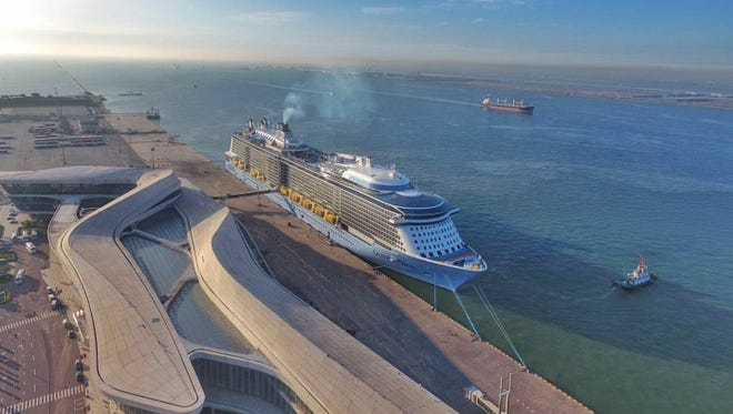 Royal Caribbean's Ovation of the Seas docked in Tiajin, China in advance of its christening on June 24, 2016.
