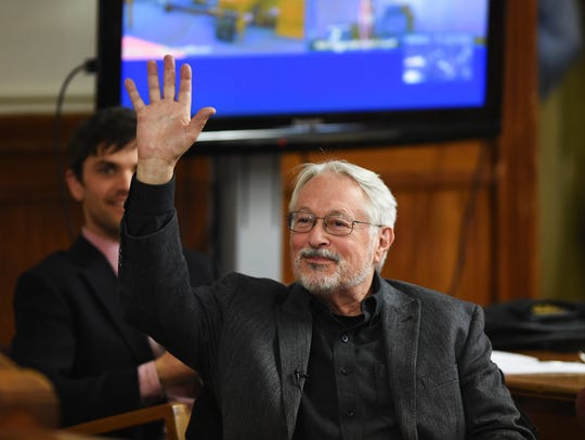 Leonard Higgins waves to his supporters ahead of his sentencing hearing at the Chouteau County Courthouse Tuesday. Higgins was ordered to pay $3,755 in restitution with no jail time by District Judge Daniel Boucher for his role in turning off an oil pipeline valve in 2016.