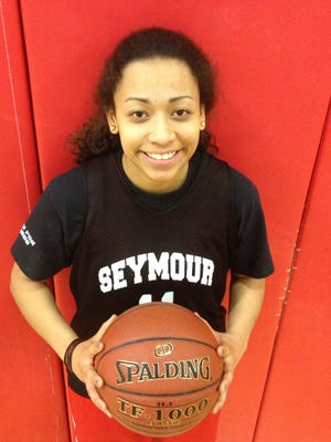 At 5-foot-4, Asia Danforth is the smallest player on Seymour's girls basketball team.