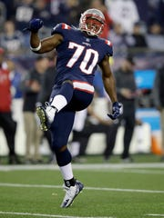New England Patriots defensive tackle Adam Butler celebrates after sacking Atlanta Falcons quarterback Matt Ryan during the first half of an NFL football game, Sunday, Oct. 22, 2017, in Foxborough, Mass. (AP Photo/Charles Krupa)