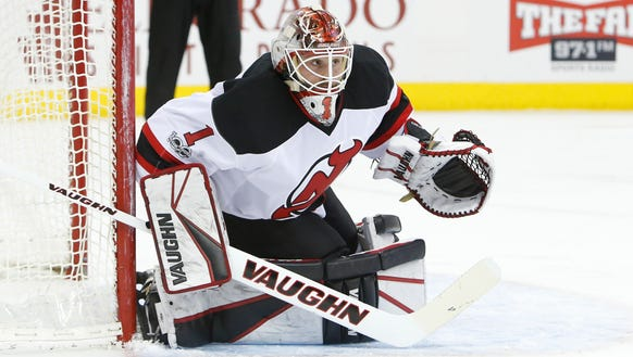 New Jersey Devils' Keith Kinkaid plays against the