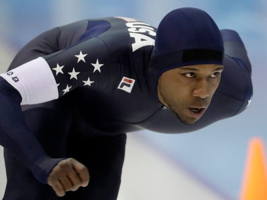 "FILE - In this Jan. 3, 2018 file photo, Shani Davis competes in the men's 1,000 meters during the U.S. Olympic long track speedskating trials in Milwaukee.   Davis is heading to his fifth Olympics, searching for the kind of speed that would get him on the podium and burnish his legacy as one of the sport's all-time greats. ""I still want to win, I still want to be the best in the world,"" he said. ""I still have fun, I still enjoy it.""(AP Photo/Morry Gash, File)"