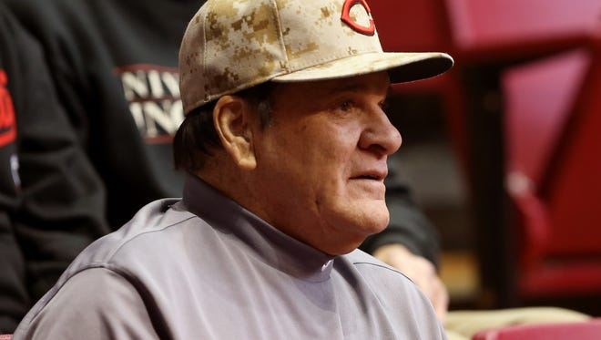 Pete Rose watches a UC men's basketball game in January.