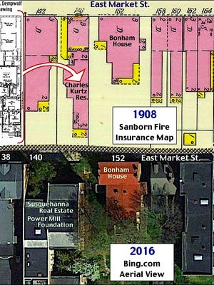 1908 Sanborn Fire Insurance Map of the Southwest Corner at East Market Street and South Queen Street in York, PA, compared to 2016 Aerial View (Sanborn Map from Penn State Libraries On-Line Collections and 2016