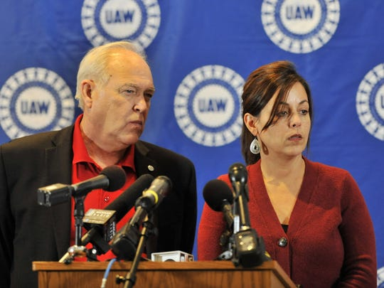UAW president Dennis Williams, left, and UAW vice president