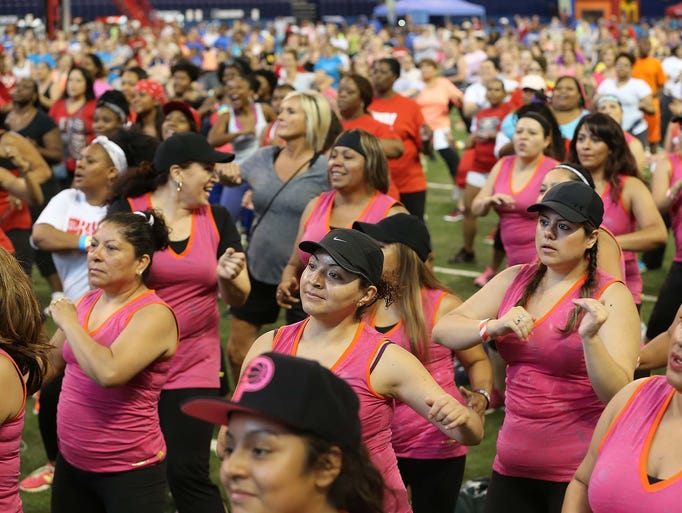 The Little Red Door Cancer Agency's annual Big Red Bash at Lucas Oil Stadium was held Saturday June 28, 2014. The event included this record attempt for the largest Zumba class in the county.