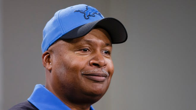 Detroit Lions coach Jim Caldwell addresses the media after a game against the Oakland Raiders.