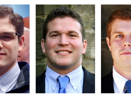 This panel of photos released March 5, 2015 by Yale University in New Haven, Conn., shows Chris Gennaro, left, Paul Rice, center, and Zach Wigmore. The three members of the school's football staff donated bone marrow along with some two dozen others from Yale, where advocates said they have found an usually high success rate. (AP Photo/Yale University)