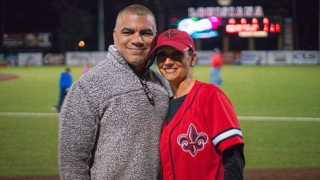 "Papo and Tina Ramos enjoy the game as the Ragin' Cajuns take on the South Alabama Jaguars at M.L. ""Tigue"" Moore Field Friday March 9, 2018."