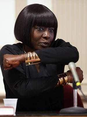 Mignone Njie, mother of Francis Thomas, gestures as she testifies in Morris County Superior Court about being bear-hugged during a violent struggle with her ex-boyfriend Edward Mendy. Her son, Francis Thomas is on trial for attempted murder of Mendy.  April 24, 2017, Morristown, NJ