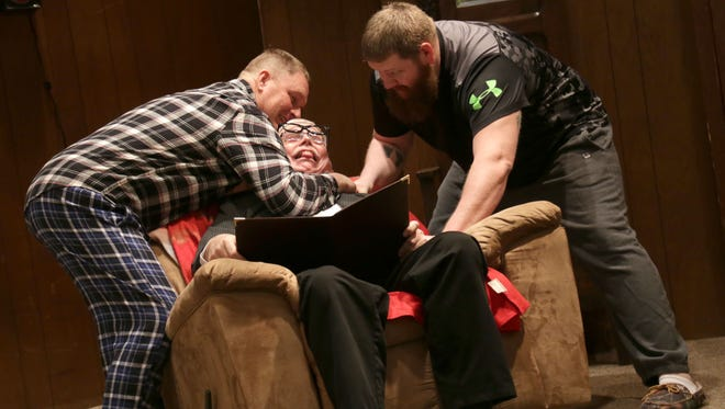 Dan Eichelberger, Roger Jenney and Doug Eichelberger rehearse during the Adario Community Players production of Here Comes the Bride. The play is the 121st annual production for the community and will perform this and the following Friday and Saturday.
