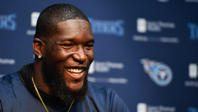 Titans linebacker Brian Orakpo addresses the media at St. Thomas Sports Park before the start of training camp Friday, July 28, 2017, in Nashville, Tenn.