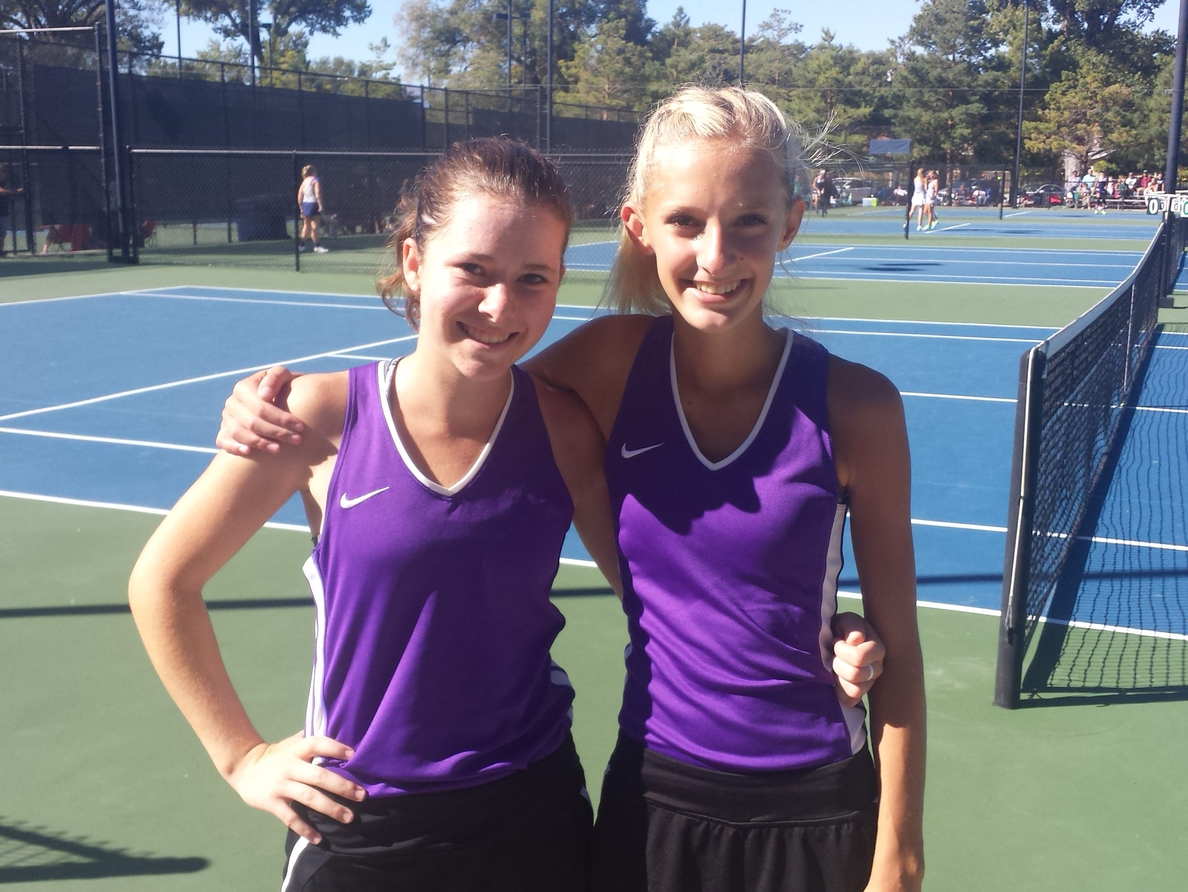 Desert Hills' Abbie Carmack and Lyndsi Graf lost in the semis Saturday morning at Liberty Park during the 3A state tennis tournament.