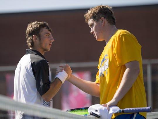 Match winner Patrick Fletchall (right), Carmel High