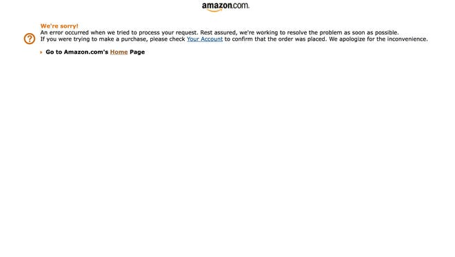 The website for Amazon.com was down briefly Thursday at around 11:30 Pacific but was up again within minutes.