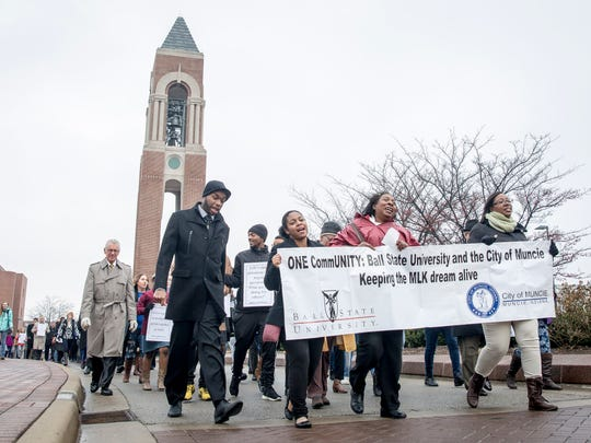 Dozens gathered for the annual Martin Luther King Jr. Day Unity March on Ball State's campus in January 2017.