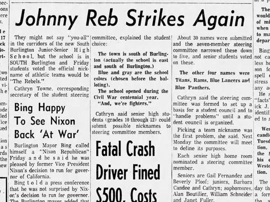 A clip from Sept. 30, 1961 in which it is reported that South Burlington students voted for Rebels as a mascot name. This is the first mention of that mascot name in the Free Press.