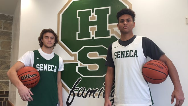 Seneca seniors Jack Brockett, left, and Mike Ginyard have helped the Eagles start the season strong, winning five of their first six games.
