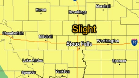 A large part of eastern South Dakota has a slight chance of severe storms on Monday night.