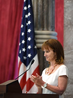 House Speaker Beth Harwell leads the House as legislators conduct business in the final days of the 2016 legislative session on April 19, 2016.