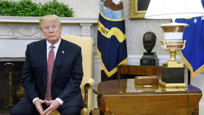 President Trump looks on in the Oval Office of the White House, on Feb. 9, 2018 in Washington, D.C.