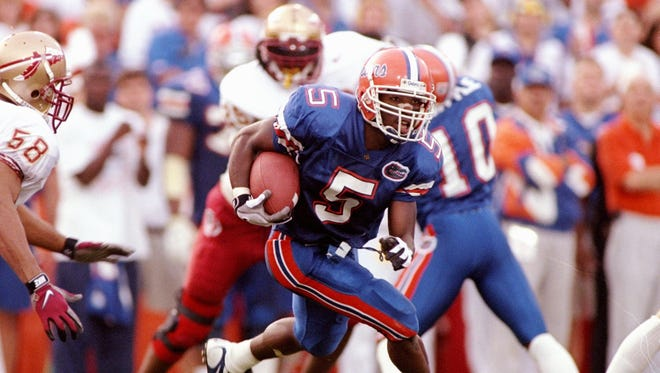 Florida wide receiver Jacquez Green breaks loose against Florida State during a 32-29 win for the Gators in Gainesville on Nov. 22, 1997.