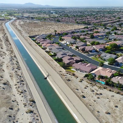 Water flows in north Indio in the Coachella branch