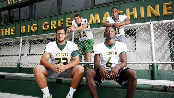 Reynolds football players, from left to right, Jake Setterlind, Kyle McWhirt, Sean Jones and Keyal Talbert.