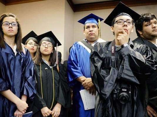 "Students and former students from left to right, Alejandra Villasenor, Maria Yolisma Garcia, Diana De Los Reyes, Jesus Ochoa, Carlos Estrada, and Daniel Candelaria wait to testify against a repeal of the so-called ""Texas Dream Act"" of 2001, in Austin, Texas, Monday, April 6, 2015. The Republican-controlled Legislature began a push Monday to repeal Texas' 14-year-old law that gives the children of some people living in the United States illegally in-state tuition at public universities.(AP Photo/Austin American-Statesman, Rodolfo Gonzalez)  AUSTIN CHRONICLE OUT, COMMUNITY IMPACT OUT, INTERNET AND TV MUST CREDIT PHOTOGRAPHER AND STATESMAN.COM, MAGS OUT"