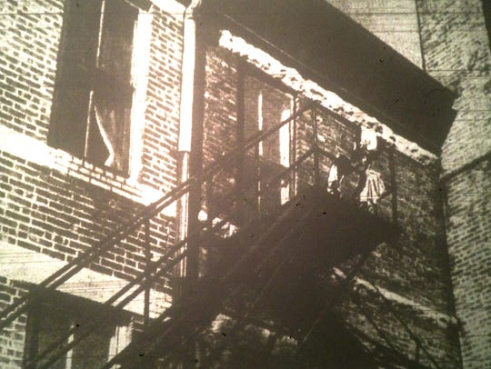 The caption says: This is one of two fire escapes provided