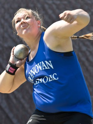 Donovan Catholic's Alyssa Wison wins discus event with a throw of 54.25 feet. NJSIAA South Sectional Groups I, IV, and Non-Public A Track & Field Championships.