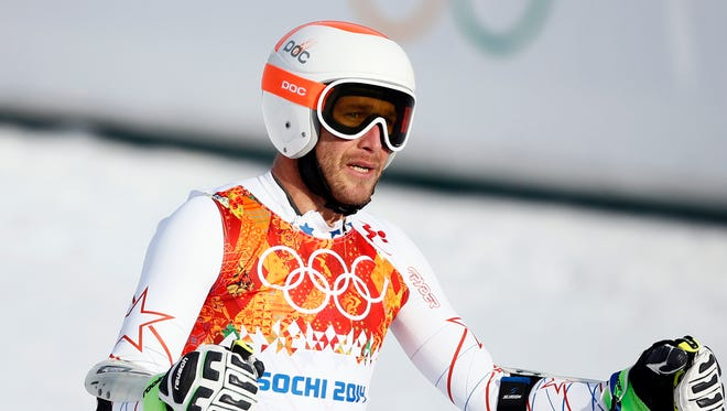 Bode Miller (USA) reacts after his run in men's alpine skiing super-G during the Sochi 2014 Olympic Winter Games at Rosa Khutor Alpine Center.