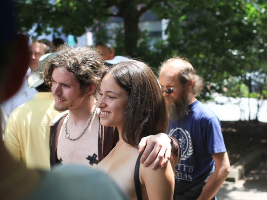 Crowds gathered in Pritchard Park in 2014 for the topless rally, held in support of a woman's right to go topless in public in North Carolina.