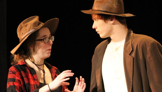 """Little Chute High School will present """"The Beverly Hillbillies"""" this weekend. Here, Allison Vandenberg as Elly May and Tyler Hietpas in the role of Jed, are pictured during a rehearsal."""